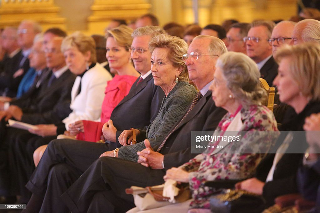 Princess Mathilde, Prince Philippe, Queen Paola, King Albert, Queen Fabiola, Princess Astrid and Prince Lorentz of Belgium assist the King Baudouin African Development Price at the Royal Palace on May 22, 2013 in Brussel, Belgium.