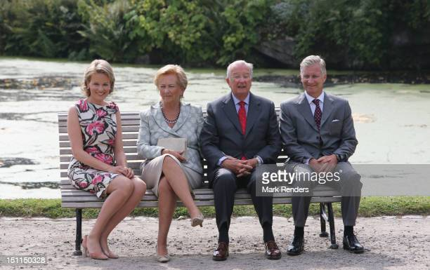 Princess Mathilde Queen Paola King Albert and Prince Philippe of Belgium attend the Belgian Royal Family official photocall at Laeken Castle on...