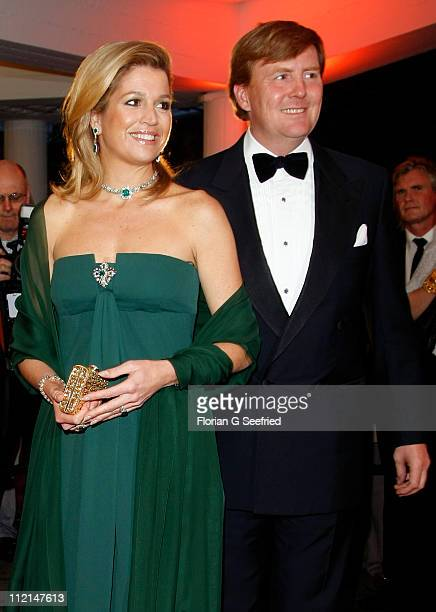 Princess Maxima and Prince WillemAlexander arrive for the performance of the Dutch Royal Concert Orchestra at the Berlin Philharmonic on April 13...