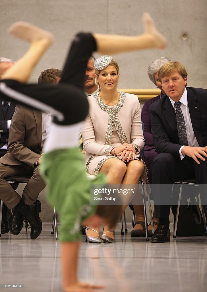 Princess Maxima and Prince Willem-Alexander of the Netherlands watch children perform at the Palucca Dance High School on April 14, 2011 in Dresden, Germany. The Dutch royals, including Queen Beatrix; are on a four-day visit to Germany that includes stops in Berlin, Dresden and Duesseldorf.