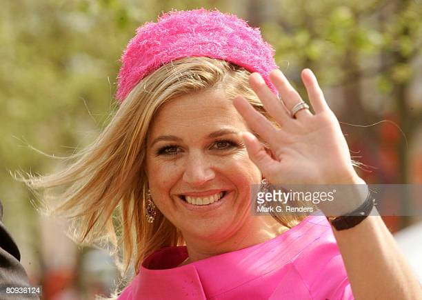Princess Maxima from the Dutch Royal Family greets the crowd on Queensday April 30 2008 in Franeker The Netherlands