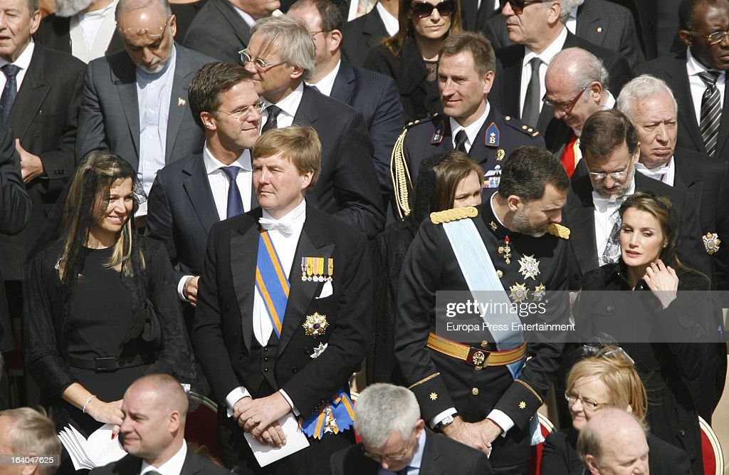 Princess Maxima of Netherlands, Prince Willem-Alexander o Netherlands, Prince Felipe of Spain and Princess Letizia of Spain attend the Inauguration Mass of Pope Francis in St. Peter's Square for his Inauguration Mass on March 19, 2013 in Vatican City, Vatican. The inauguration of Pope Francis is being held in front of an expected crowd of up to one million pilgrims and faithful who have crowded into St Peter's Square and the surrounding streets to see the former Cardinal of Buenos Aires officially take up his position. Pope Francis' inauguration takes place in front his cardinals, spiritual leaders as well as heads of states from around the world and he will now lead an estimated 1.3 billion Catholics.