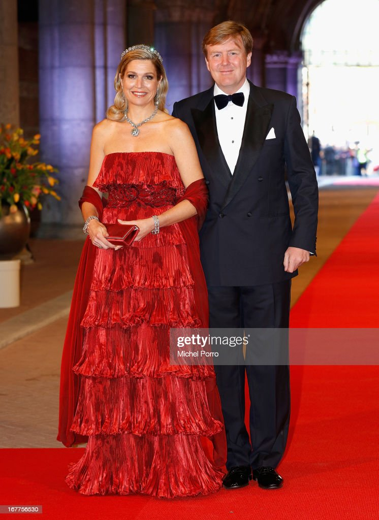 Princess Maxima of the Netherlands and Crown Prince Willem-Alexander of the Netherlands arrive at a dinner hosted by Queen Beatrix of The Netherlands ahead of her abdication in favour of Crown Prince Willem Alexander at Rijksmuseum on April 29, 2013 in Amsterdam, Netherlands.