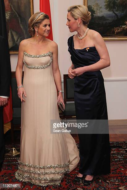 Princess Maxima of the Netherlands and German First Lady Bettina Wulff attend a state banquet given in honour of the visiting Dutch royals at...