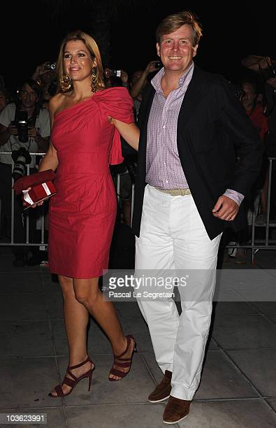 Princess Maxima of the Netherlands and Prince WillemAlexander of the Netherlands arrive at Poseidon Grace Hotel on August 24 2010 in Spetsai Greece...