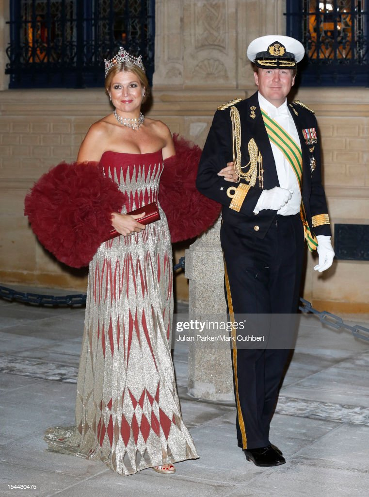 Princess Maxima of the Netherlands and Prince Willem-Alexander of the Netherlands attend the Gala dinner for the wedding of Prince Guillaume Of Luxembourg and Stephanie de Lannoy at the Grand-ducal Palace on October 19, 2012 in Luxembourg, Luxembourg. The 30-year-old hereditary Grand Duke of Luxembourg is the last hereditary Prince in Europe to get married, marrying his 28-year old Belgian Countess bride in a lavish 2-day ceremony.