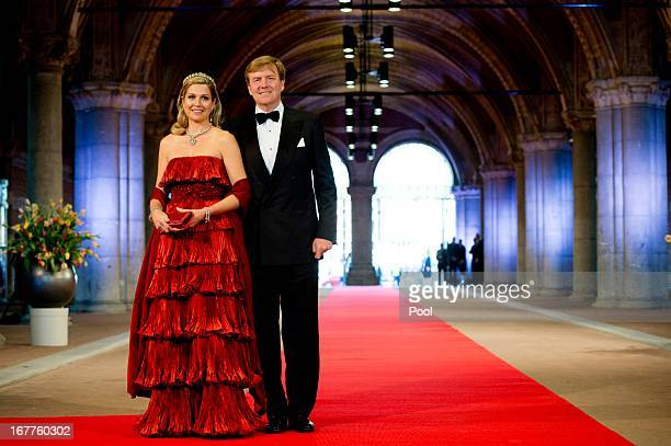 Princess Maxima of the Netherlands and Prince WillemAlexander of the Netherlands arrive at a dinner hosted by Queen Beatrix of The Netherlands ahead...