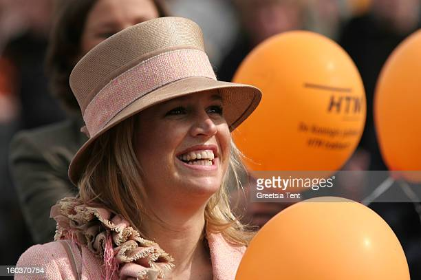 Princess Maxima of the Netherlands attends the traditional Queens Day celebrations on April 30 2005 in Scheveningen Netherlands