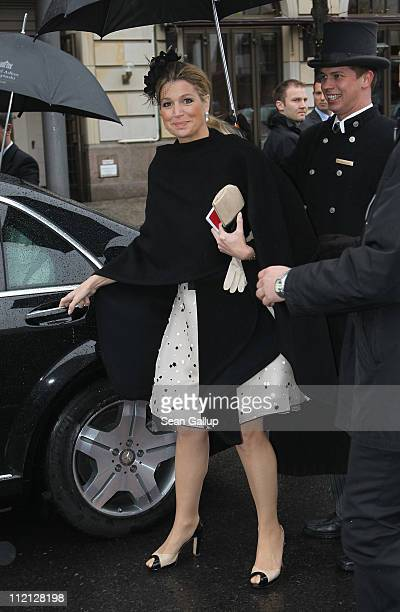 Princess Maxima of the Netherlands departs from the Adlon Hotel for a busy day on April 13 2011 in Berlin Germany The Dutch royals including Queen...