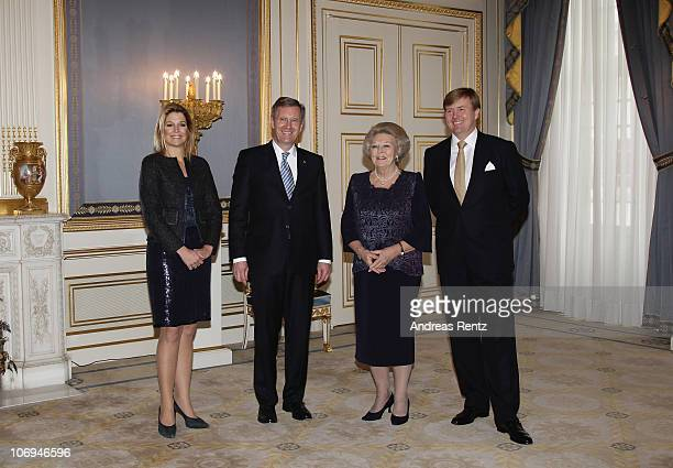 Princess Maxima of the Netherlands German President Christian Wulff Queen Beatrix of the Netherlands and Crown Prince Willem Alexander of the...