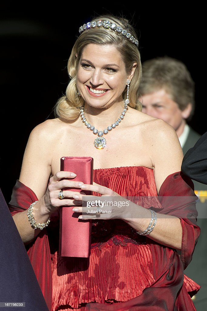 Princess Maxima of the Netherlands leaves The Royal Palace in Amsterdam to attend a dinner hosted by Queen Beatrix of The Netherlands ahead of her abdication at the Rijksmuseum on April 29, 2013 in Amsterdam, Netherlands.