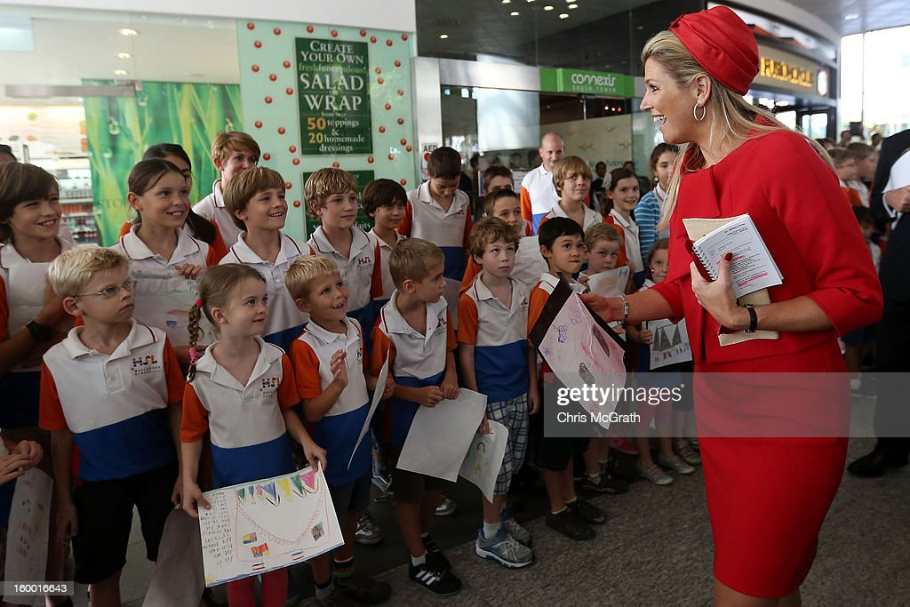 Princess Maxima of the Netherlands meets dutch students from the Hollandse School after touring the Singapore A*Star Fusion World on January 25, 2013 in Singapore, Singapore. Queen Beatrix is on a three day state visit to Singapore.