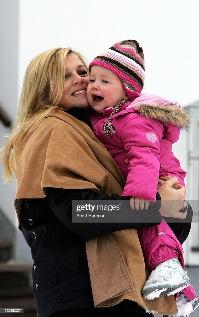 Princess Maxima of the Netherlands (L) poses for photographs with her daughter Princess Alexia at the start of their annual Austrian skiing holiday on February 11, 2006 in Lech, Austria.