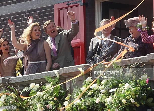 Princess Maxima of The Netherlands Prince Willem Alexander of The Netherlands and Queen Beatrix of The Netherlands and other members of the Dutch...