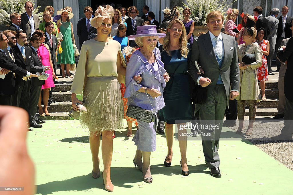 Princess Maxima of the Netherlands, Queen <a gi-track='captionPersonalityLinkClicked' href=/galleries/search?phrase=Beatrix+of+the+Netherlands&family=editorial&specificpeople=92396 ng-click='$event.stopPropagation()'>Beatrix of the Netherlands</a>, Princess Mabel and Prince Willem-Alexander arrive for the Princess Carolina Church Wedding With Mr Albert Brenninkmeijer at Basilica di San Miniato al Monte on June 16, 2012 in Florence, Italy.