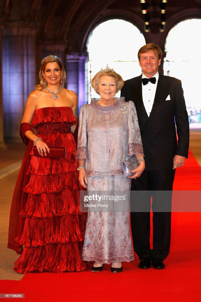 Princess Maxima of the Netherlands (L), Queen Beatrix of the Netherlands and Crown Prince Willem-Alexander of the Netherlands (R) arrive at a dinner hosted by Queen Beatrix of The Netherlands ahead of her abdication at Rijksmuseum on April 29, 2013 in Amsterdam, Netherlands.