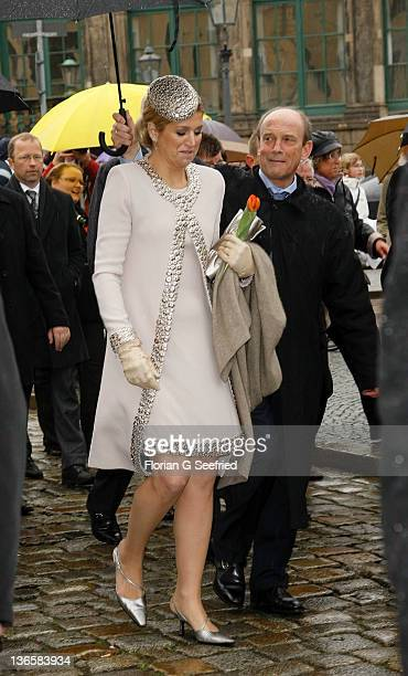 Princess Maxima of the Netherlands tours the historic city center on April 14 2011 in Dresden Germany The Dutch royals are on a fourday visit to...