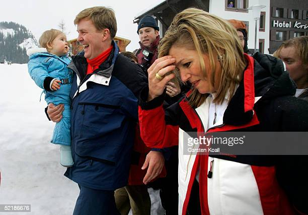 Princess Maxima Prince Willem Alexander with their daughter Princess Almalia of the Dutch Royal Family pose at a photocall during their winter...