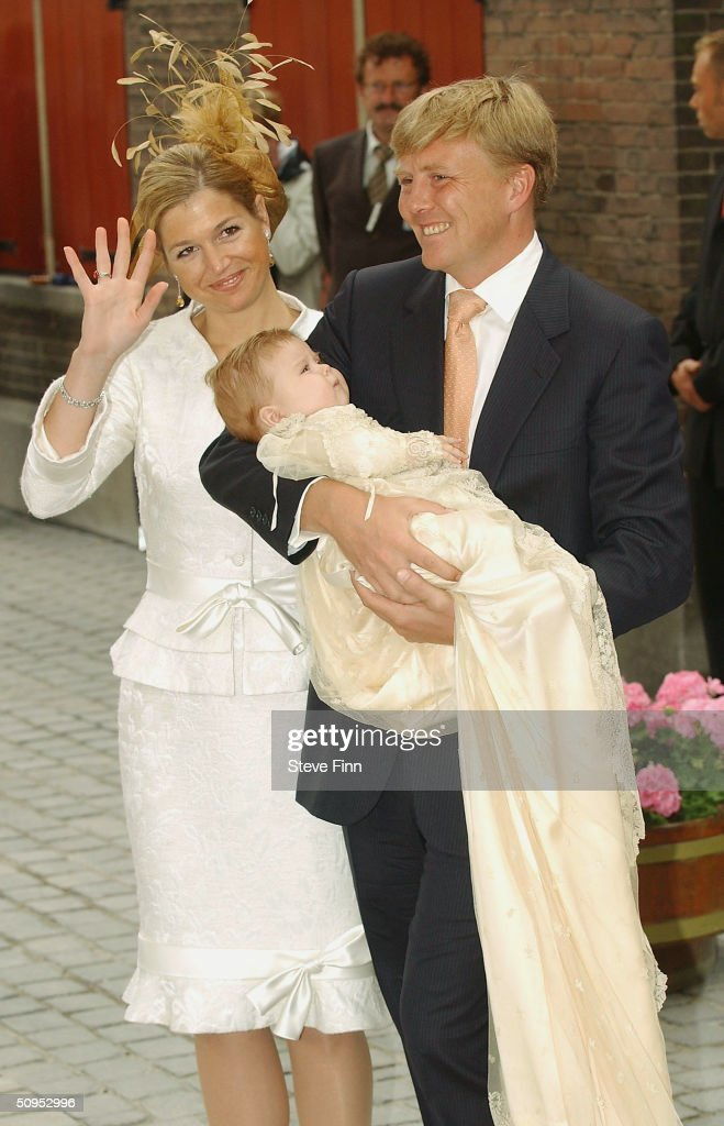 Princess Maxima, Princess Catharina-Amalia and HRH Prince Willem Alexander leave the Christening of baby girl Catharina-Amalia, daughter of Dutch Crown Prince Willem Alexander and Princess Maxima at the Hague on June 12, 2004 in Amsterdam, The Netherlands. Her parents announced the birth of their daughter Princess Amalia - who is the heir to the Dutch throne - on December 7, 2003.