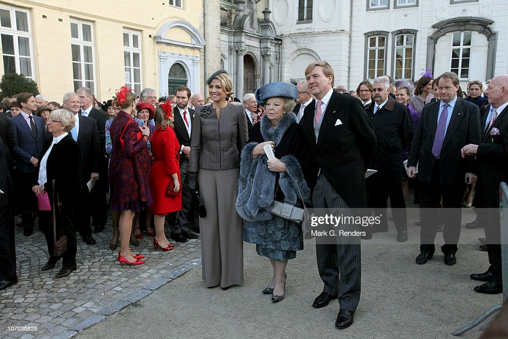 Princess Maxima, Queen Beatrix and Prince Willem Alexander of the Netherlands leave after the Royal Wedding of Princess Annemarie Gualtherie van Weezel and Prince Carlos de Bourbon de Parme at Abbaye de la Cambre on November 20, 2010 in Brussels, Belgium.