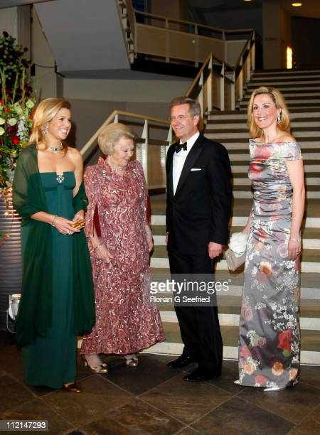 Princess Maxima Queen Beatrix of the Netherlands German President Christian Wulff and First Lady Bettina Wulff arrive for the performance of the...