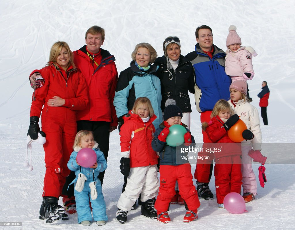Princess Maxima, The Prince of Orange Prince Willem-Alexander, Queen Beatrix of the Netherlands, Princess Laurentien and Prince Constantijn holding Countess of Orange Leonore pose with (L to R) Princess Ariane, Princess Catharina-Amalia, The Count of Orange Claus-Casimir, Princess Alexia and Eloise at the start of their annual Austrian skiing holiday on at the ski resort of Lech am Alberg on February 16, 2009 in Lech, Austria