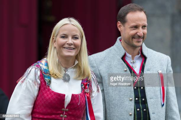 Princess Mette Marit of Norway Prince Haakon of Norway greet the children in the parade at their home Skaugum on Norway's National Day on May 17 2017...