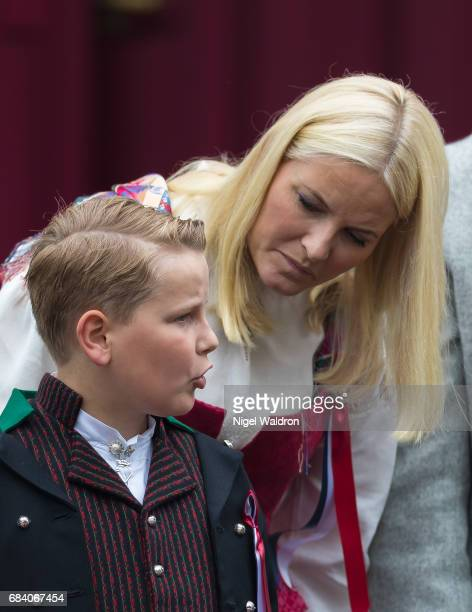 Princess Mette Marit of Norway Prince Sverre Magnus of Norway greet the children in the parade at their home Skaugum on Norway's National Day on May...