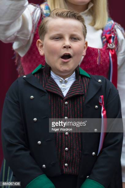 Princess Mette Marit of Norway Prince Sverre Magnus of Norway greets the children in the parade at their home Skaugum on Norway's National Day on May...