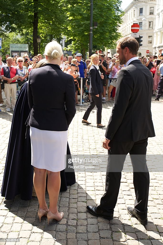 Princess Mette-Marit of Norway and Prince Haakon of Norway attend a memorial service for the victims of the 2011 terrorist attacks on July 22, 2013 in Oslo, Norway.