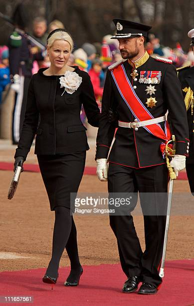 Princess MetteMarit of Norway and Prince Haakon of Norway attend the official welcoming ceremony for Lithuania's president Dalia Grybauskaite at the...