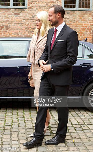 Princess MetteMarit of Norway and Prince Haakon of Norway attends a luncheon at Akershus Fortress during day two of the state visit from India on...