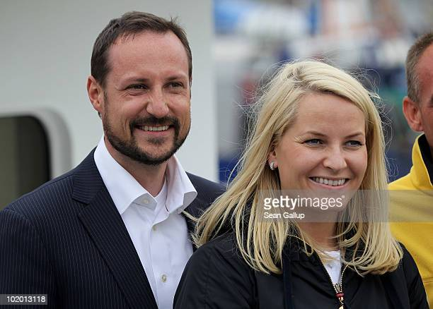 Princess MetteMarit of Norway and Prince Haakon of Norway return from a boat trip to see nearby chalk cliffs in the Baltic Sea on June 12 2010 in...