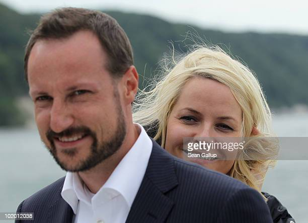 Princess MetteMarit of Norway and Prince Haakon of Norway ride a boat along chalk cliffs in the Baltic Sea on June 12 2010 near Sassnitz Germany The...