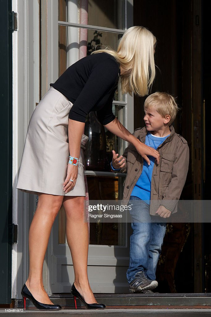 Princess Mette-Marit of Norway and Prince Sverre Magnus of Norway attend the opening of Global Shapers at Skaugum on April 27, 2012 in Asker, Norway.