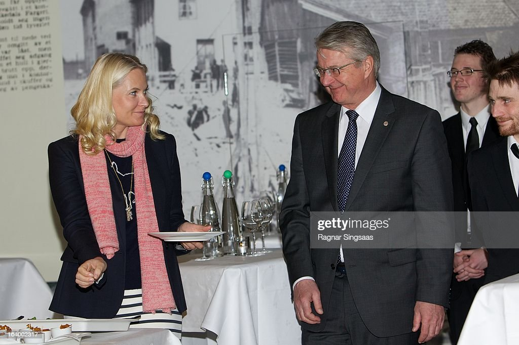 Princess Mette-Marit of Norway and the Mayor of Oslo Fabian Stang visit the Scandic Vulkan Hotel on March 19, 2013 in Oslo, Norway.