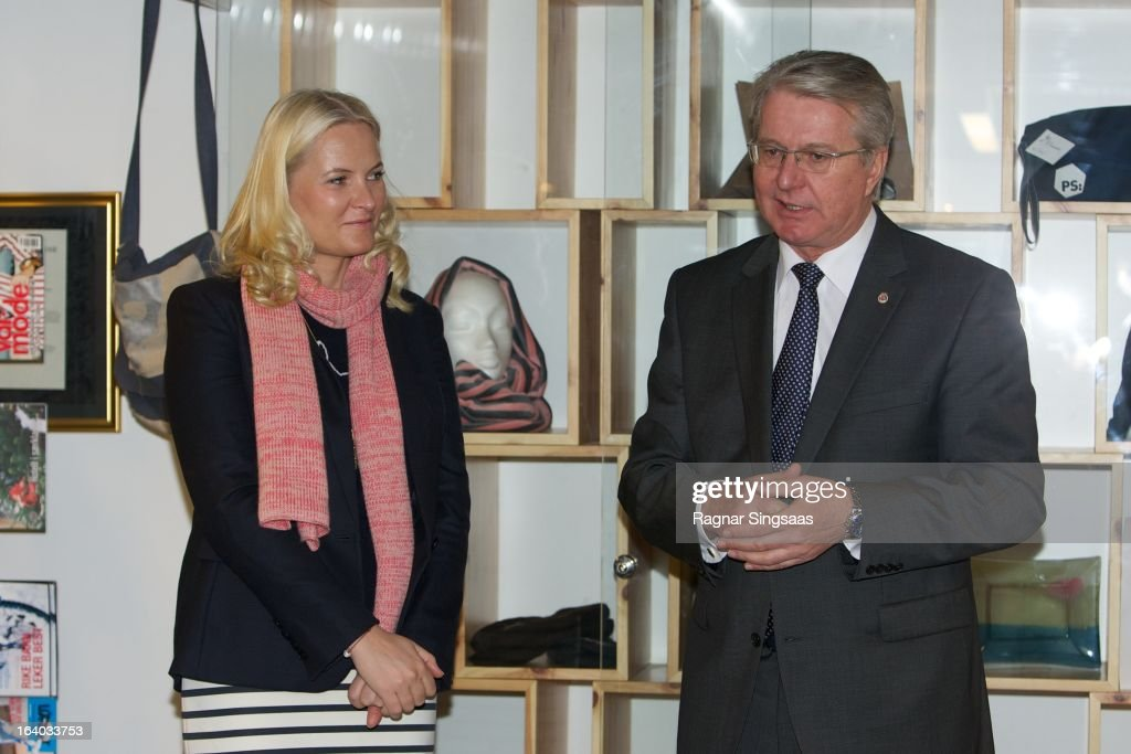 Princess Mette-Marit of Norway and the Mayor of Oslo <a gi-track='captionPersonalityLinkClicked' href=/galleries/search?phrase=Fabian+Stang&family=editorial&specificpeople=4669058 ng-click='$event.stopPropagation()'>Fabian Stang</a> visit the Scandic Vulkan Hotel on March 19, 2013 in Oslo, Norway.