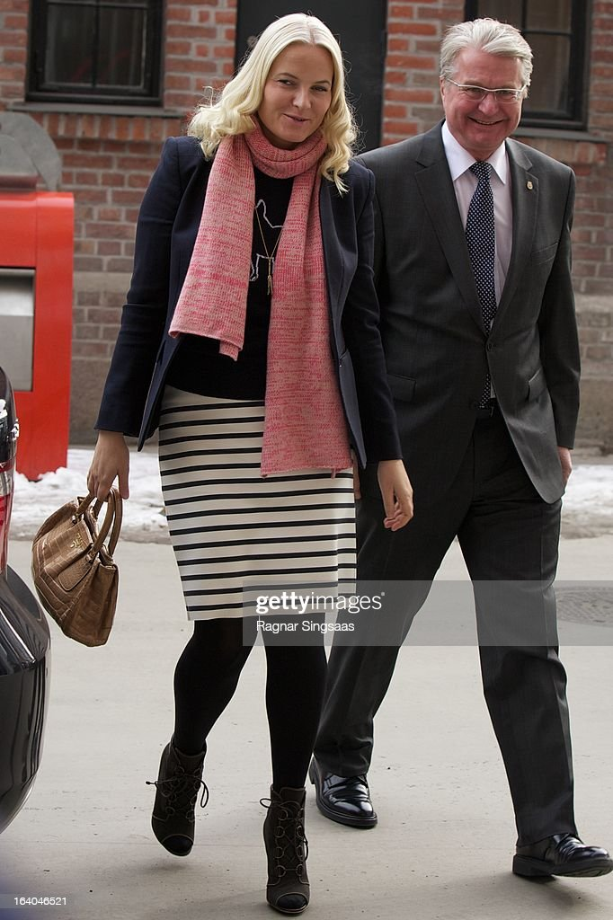 Princess Mette-Marit of Norway and the Mayor of Oslo, <a gi-track='captionPersonalityLinkClicked' href=/galleries/search?phrase=Fabian+Stang&family=editorial&specificpeople=4669058 ng-click='$event.stopPropagation()'>Fabian Stang</a> visit the Scandic Vulkan Hotel on March 19, 2013 in Oslo, Norway.