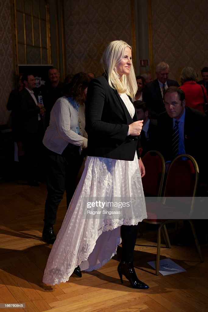 Princess Mette-Marit of Norway arrives to attend the Co-Op environmental awards at National Theatre on April 16, 2013 in Oslo, Norway.