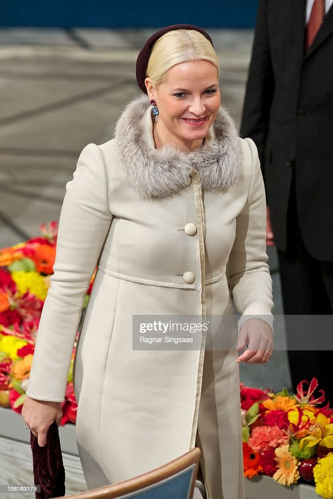 Princess Mette-Marit of Norway attends The Nobel Peace Prize Ceremony at Oslo City Hall on December 10, 2012 in Oslo, Norway.