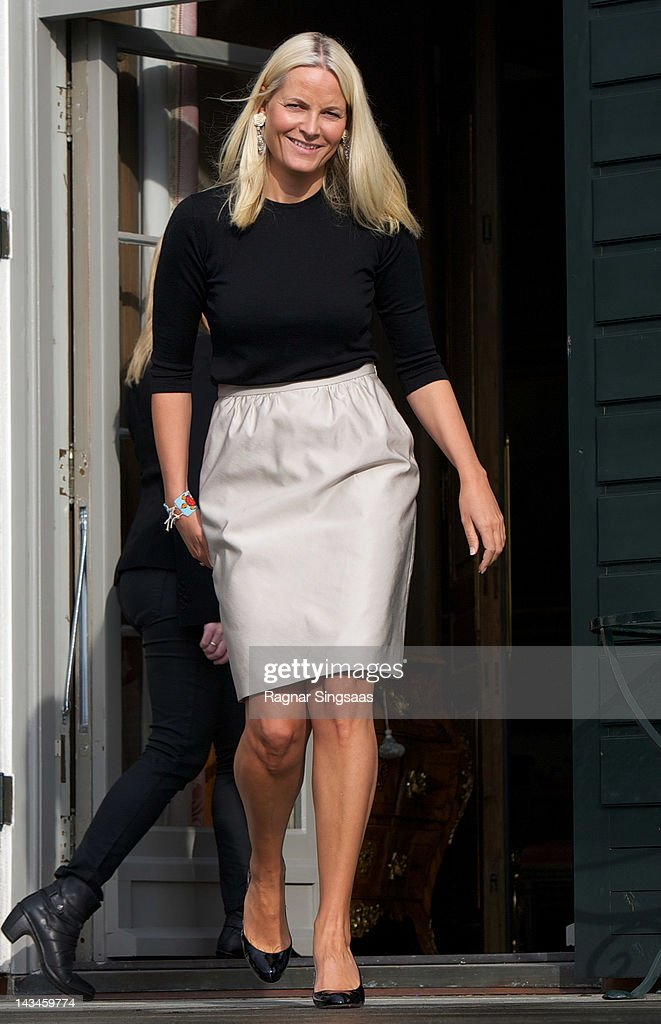 Princess Mette-Marit of Norway attends the opening of Global Shapers at Skaugum on April 27, 2012 in Asker, Norway.