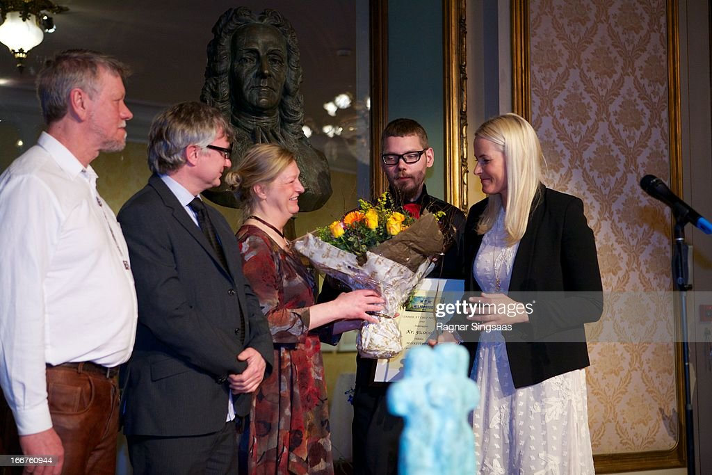 Princess Mette-Marit of Norway presents the Co-Op environmental awards at National Theatre on April 16, 2013 in Oslo, Norway.