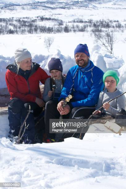 Princess MetteMarit of Norway Princess Ingrid Alexandra of Norway Prince Haakon of Norway and Prince Sverre Magnus of Norway attend a photocall after...