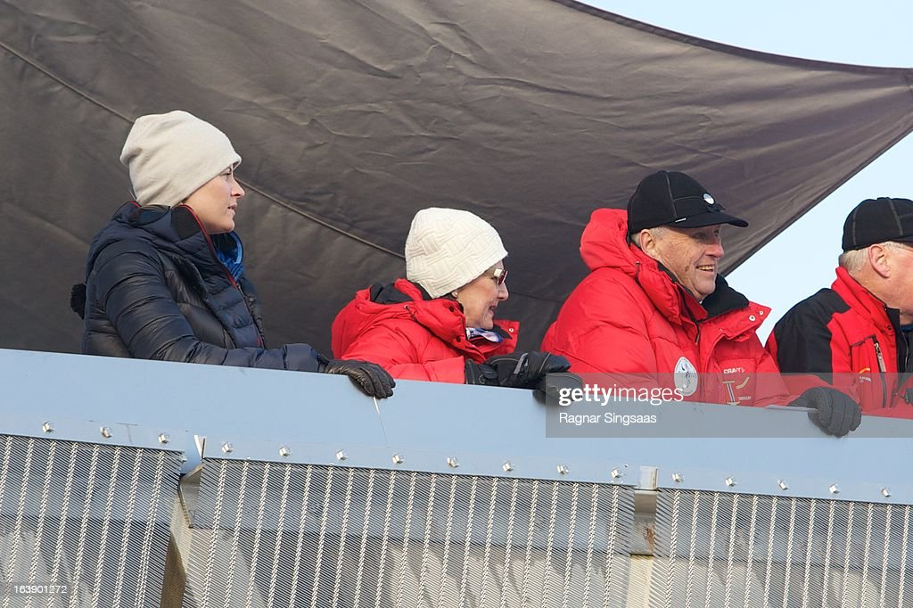 Princess Mette-Marit of Norway, Queen Sonja of Norway and King Harald V of Norway attend FIS World Cup Nordic Holmenkollen 2013 on March 17, 2013 in Oslo, Norway.