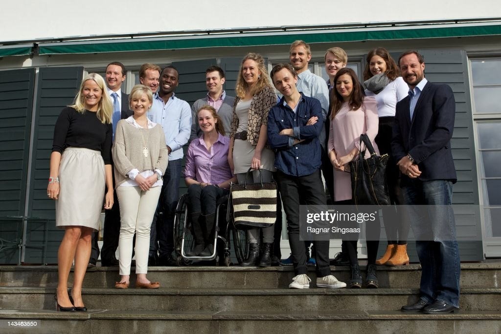 Princess Mette-Marit of Norway, Shafi Adan, Lisa Arntzen, Andreas Mjelde, Yvan Bayisabe, Birgit Lovise Skarstein, Kristoffer Holm, Anne Louise Hubert, Sondre Lerche, Jonas Borchgrevink, Anders Mjaaset, Fatima Eikadi, Ingebjorg Hvidsten and Prince Haakon of Norway attend the opening of Global Shapers at Skaugum on April 27, 2012 in Asker, Norway.
