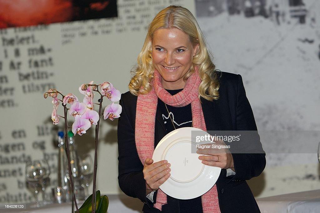 Princess Mette-Marit of Norway visits the Scandic Vulkan Hotel on March 19, 2013 in Oslo, Norway.