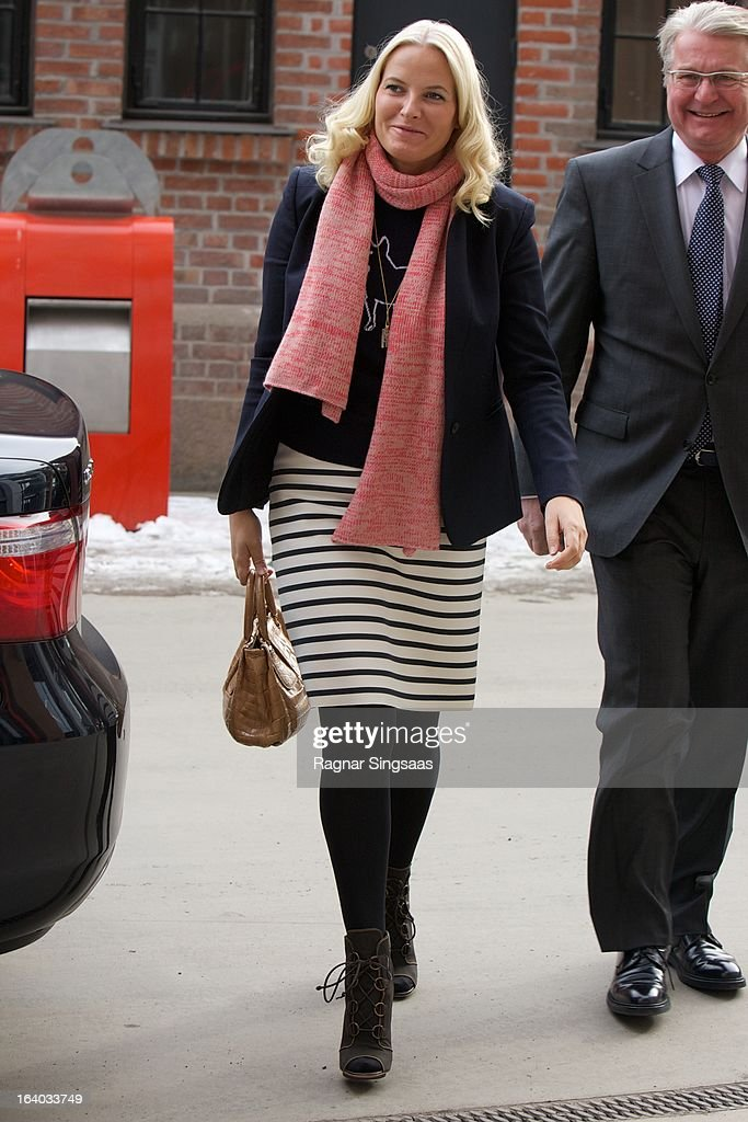 Princess Mette-Marit of Norway visits the Scandic Vulkan Hotel on March 19, 2013 in Oslo, Norway.