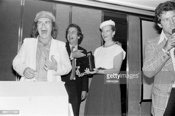Princess Michael of Kent and Elton John at the Music Therapy Charity Luncheon at the Intercontinental Hotel in Park lane Elton made the draw for the...