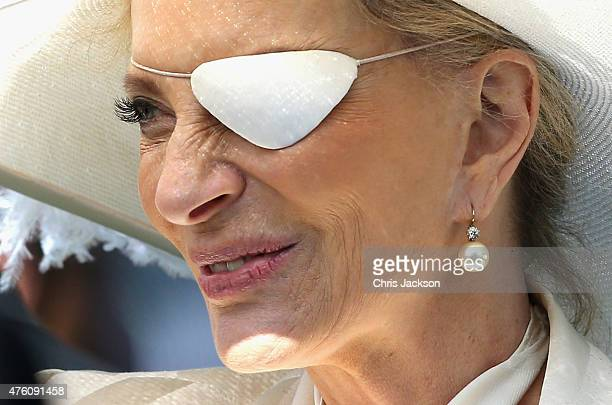Princess Michael of Kent arrives for the Investec Derby festival at Epsom Racecourse on June 6 2015 in Epsom England