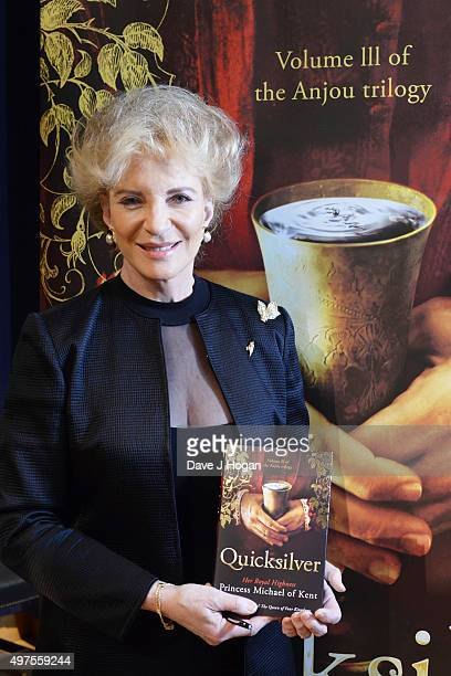 Princess Michael of Kent attends the launch of 'Quicksilver' by HRH Princess Michael of Kent the final volume of the Anjou trilogy at Christie's King...